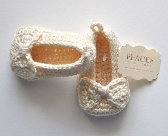 Cream / Off White Baby Shoes infant shoes baby by peacesbycortney