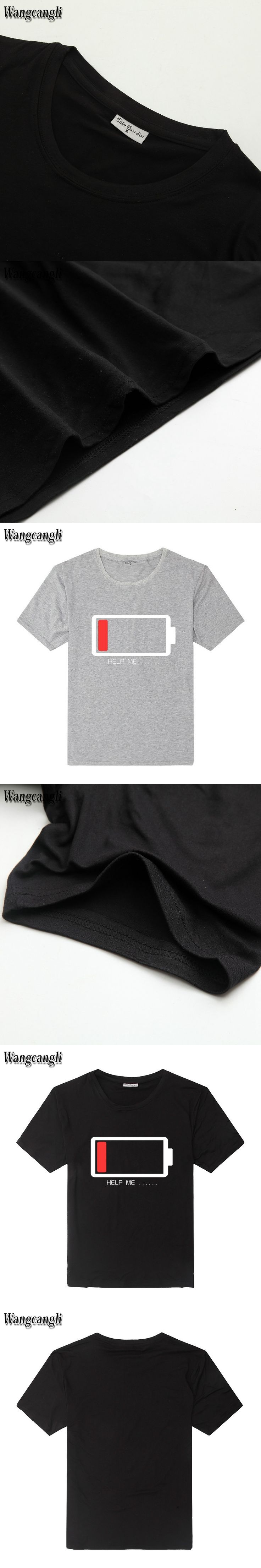 Summer fashion explosion models 3D printing battery power shortage pattern men simple cotton T shirt couple street clothing top