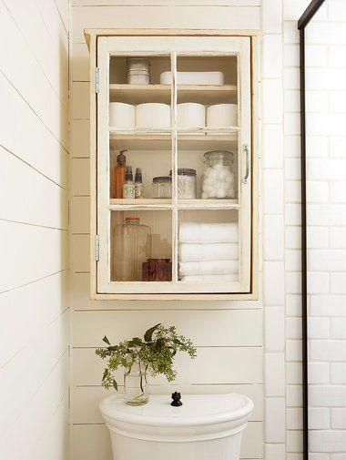 white cottage-style above-toilet cabinet #bathroomstorage  – bathroom storage