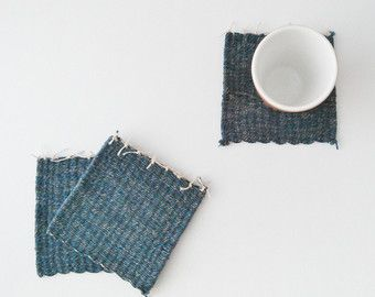 Woven coasters Hand woven rug mugs Grey by thepinqueenshop on Etsy