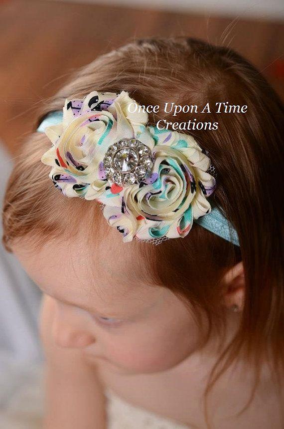 Springtime Ladybug Print Double Shabby Flower Headband - Birthday, Photo Prop - Newborn Infant Baby Child Girls Hair Bow