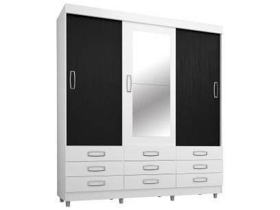 Guarda-roupa Casal 3 Portas de Correr 9 Gavetas - Araplac 4900-90 com Espelho com as melhores condições você encontra no Magazine Jsantos. Confira!