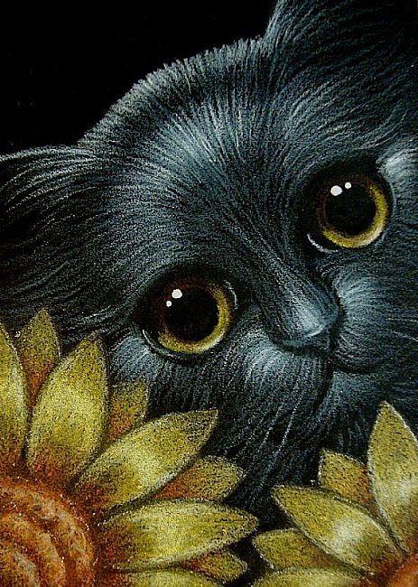 Art: BLACK CAT BEHIND THE SUNFLOWERS 1.jpg by Artist Cyra R. Cancel