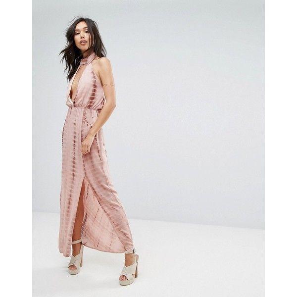 Missguided Tie Dye Halterneck Side Split Maxi Dress ($54) ❤ liked on Polyvore featuring dresses, beige, halter neck maxi dress, plunge maxi dress, maxi dress, halter top maxi dress and beige maxi dress
