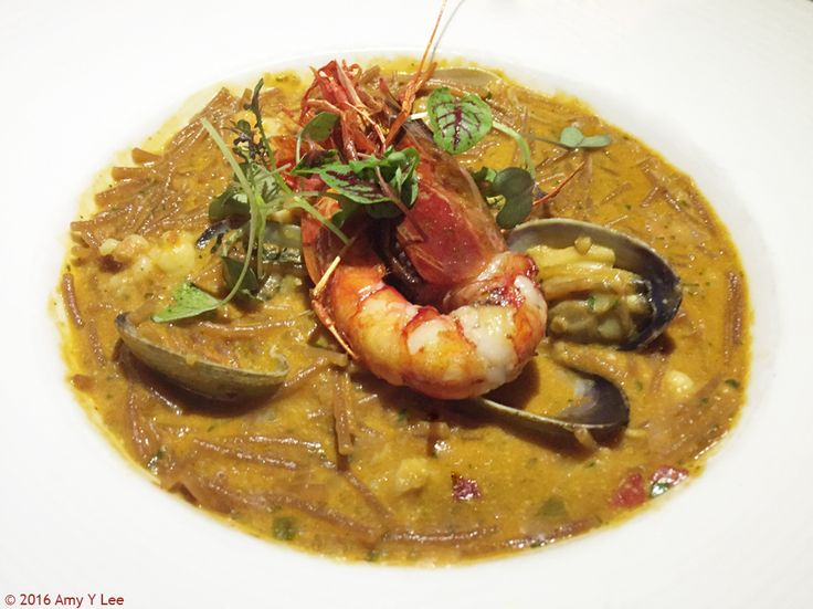 MELOSO.  Toasted Fideo (toasted pasta), Carabinero Shrimp, Manila Clams, Pocha Beans.  Rich with flavors. Salinas; NYC.