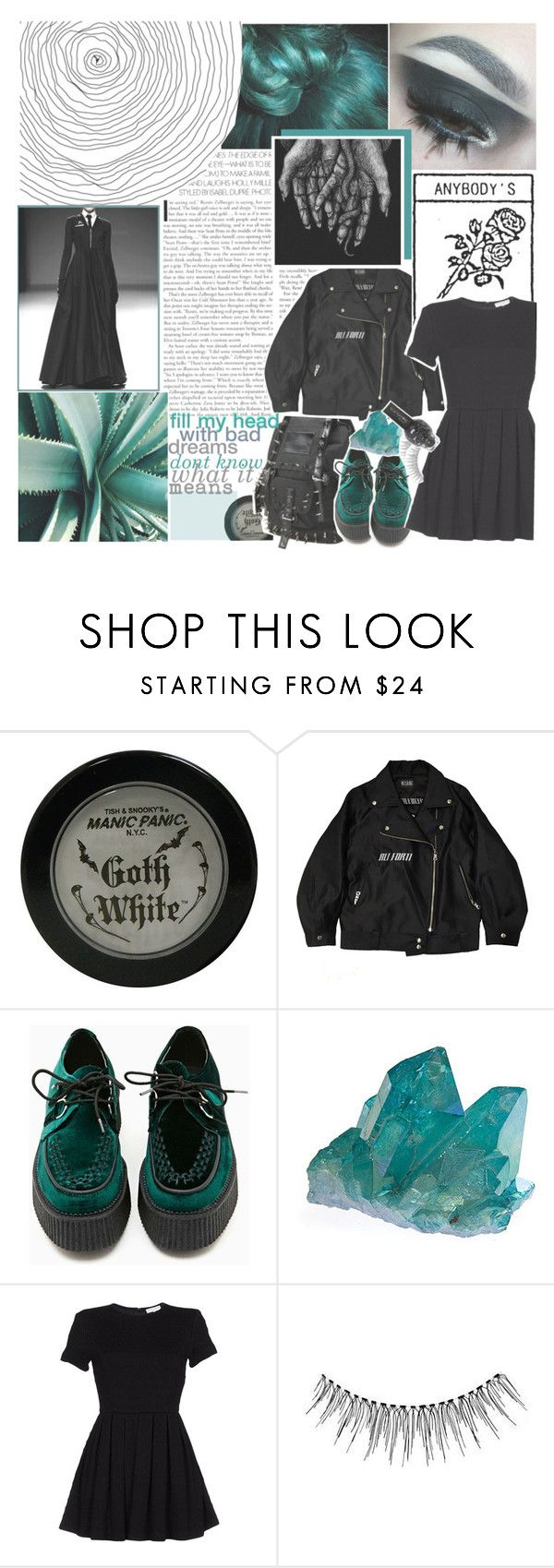 """☆✲ the waters in my lungs its dripping through the seams"" by dieliner ❤ liked on Polyvore featuring Manic Panic NYC, M.Y.O.B., T.U.K. and Opening Ceremony"