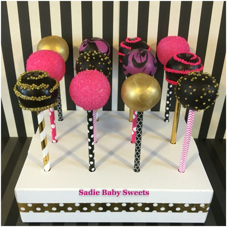 Hot pink, black and gold bachelorette cake pops!