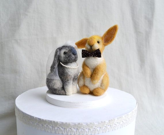 Rabbits Wedding Cake Toppers от GladOArt на Etsy
