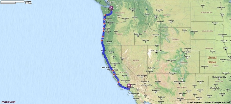 Driving Directions from Seattle, Washington to Los Angeles, California | MapQuest