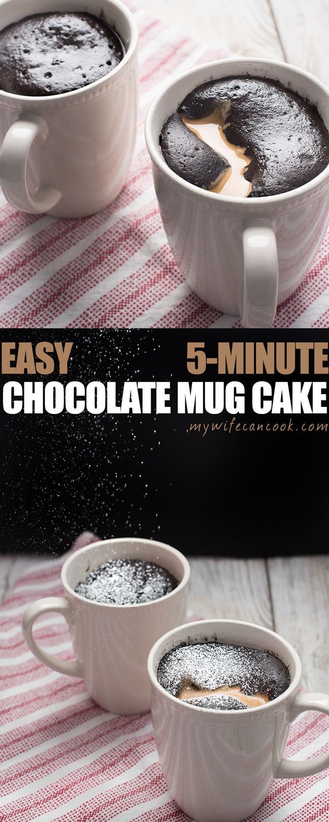 Chocolate Mug Cake - Vegan and Gluten-free! This easy gluten-free and vegan peanut butter chocolate mug cake recipe is one of our go to 5-minute desserts when we want dessert fast without the fuss. This mug cake recipe uses quinoa flour, cocoa, almond mil