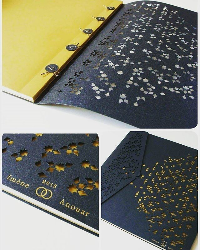 """""""Discover the universe of the artist Julie Auzillon. Her specialty: The art of the book and binding. Focus on a book made for a marriage proposal. Binding paper, inspired by the Arab binding, with Moucharabieh style cuts. original Arabic calligraphy Nesrin Olas."""" SIRO PEARL Aurum - 125g SIRO PEARL Shiny Blue -"""