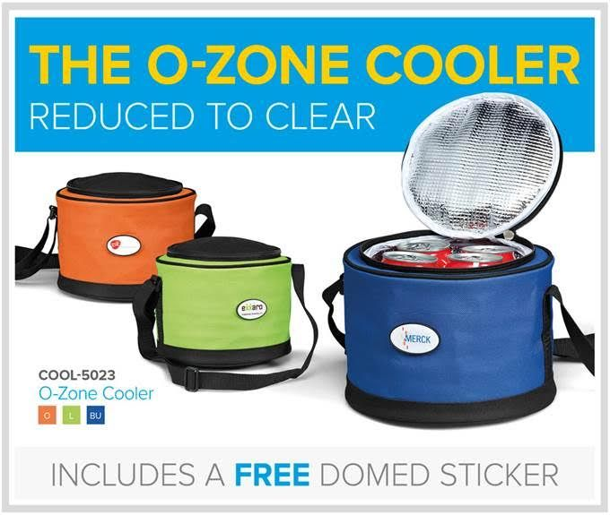 The fabulous O-Zone Cooler is the ideal accessory for keeping your drinks and snacks cool.   Reduced to clear at Linda Jacobs promotions receive a FREE full-colour domed sticker applied to the recess!  Coolerbags are great for any beverage or cosmetic brand - or any brand that needs to retain it's temperature actually!    www.lindajacobspromotions.co.za      -   021 5572152