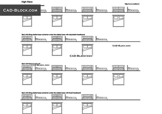 Modern Bed 2 - free AutoCAD Blocks
