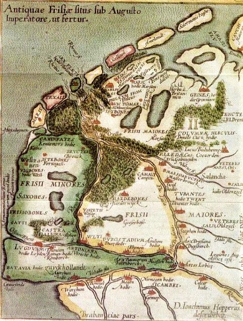 "63 BC – 14 AD - Antiquae Frisiae Situs Sub Augusto Imperatore, ut fertur – ""Location of Old Frisia under Emporer August, as it is told"" - Map reconstructed by the Frisian lawyer and scholar Joachim Hoppers (1523-1576). He was an advisor to the King of Spain."