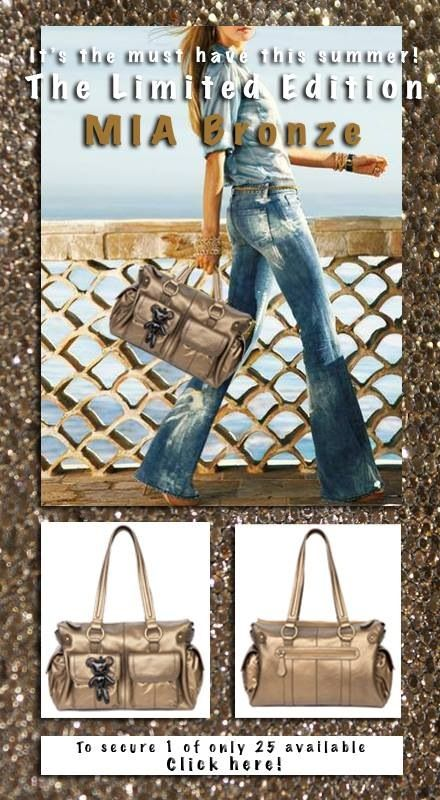 """MIA """"BRONZE"""" by Il Tutto. Made from a gorgeous Italian foiled bronze nappa leather, this collectible designer baby bag features multiple external pockets to keep things at easy reach and insulated end pockets to keep food and drinks warm or cold.  Black Patent Monster Teddy.  Unlike any other bag available on the market and sure to make a fashion statement, this Mia bag in bronze is a true collector's item and is a strictly limited edition.  Available for $459"""