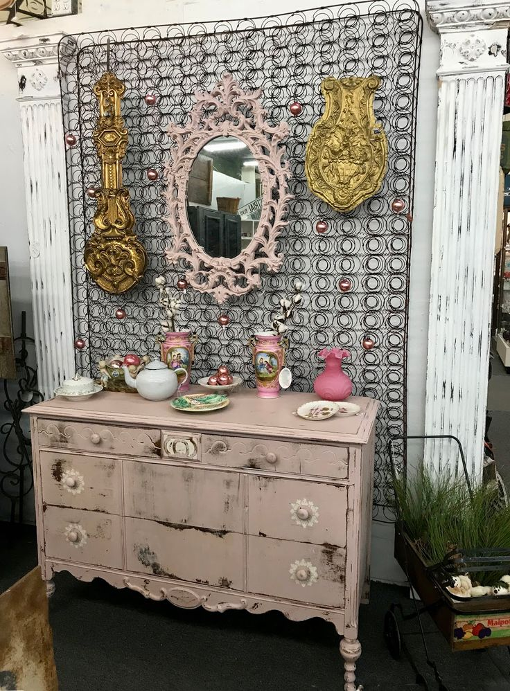 Pink Antique Shabby Chic Dresser On Sale Was $324 Sale price $199 Dallas Vintage Market  Dealer #477 Forestwood Antique Mall 5333 Forest Lane Dallas, TX 75244