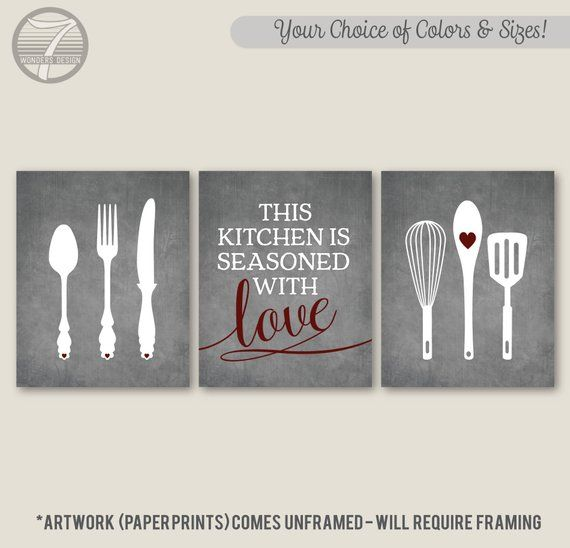 Kitchen Wall Art This Is Seasoned With Love Quote Etsy Decor Prints