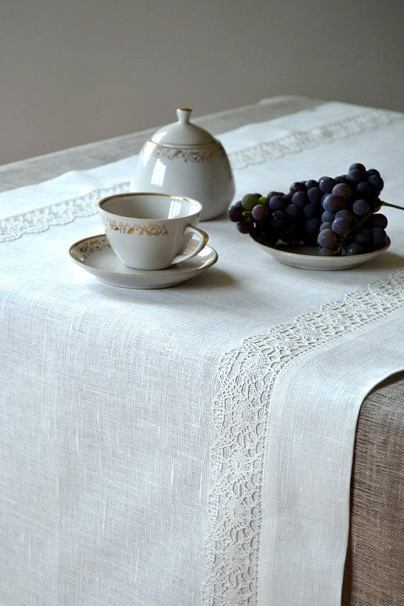 Table Runner / Placemat  For Two   Tracery White by LinenLifeIdeas