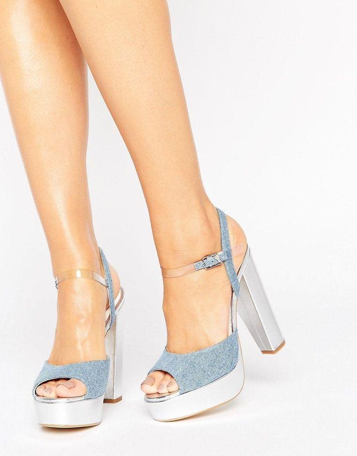 Terry de Havilland Coco Denim Platform Heeled Sandals - Silver