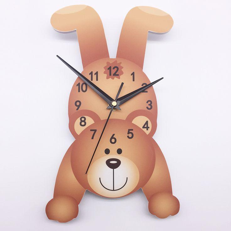 Funlife Arabic Numerals European Style Cute Cartoon Bear Rustic Style Eco-friendly PVC Wall Clock Decor for Kids Room SWC002