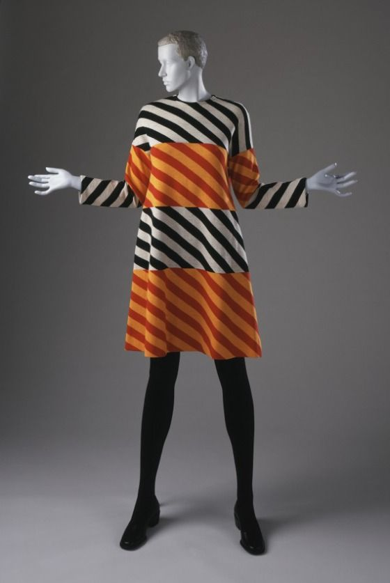 Woman's Mini-dress  Rudi Gernreich (Austria, active United States, 1922-1985)  United States, California, 1973  Costumes; principal attire (entire body)  Wool knit  Center back length: 37 in. (93.98 cm)  Gift of Greta Popoff (AC1997.84.2)  Costume and Textiles
