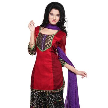 Red and Maroon Art Ghicha Silk Patiala With Kameez Online Shopping: KJN785