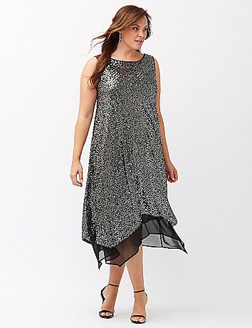 Steal the spotlight whenever you make an entrance in this dazzling sequin dress. All-over sequins keep your wow factor off the charts, with a sheer chiffon underlay peeking out of the asymmetric hem for a graceful finish. Wide tank straps and a scoop back complete the look. lanebryant.com