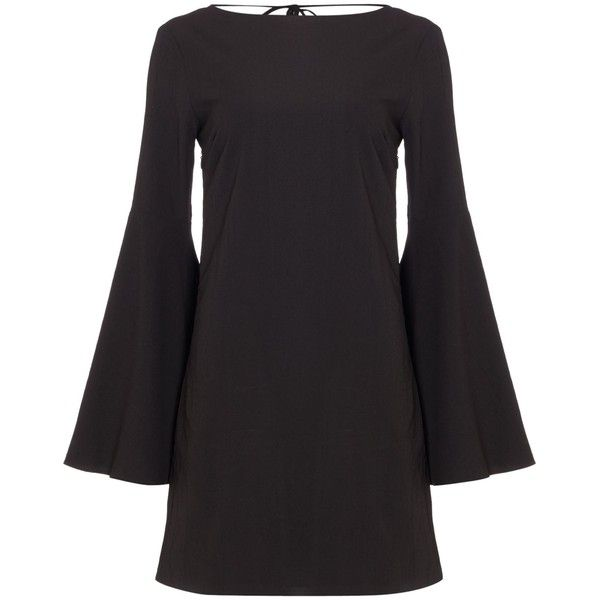 Endless Rose Long Sleeved Bell Sleeve Low V Neck Back Dress (680 GTQ) ❤ liked on Polyvore featuring dresses, black, women, long-sleeve shift dresses, long bell sleeve dress, longsleeve dress, long sleeve shift dress and shift dresses