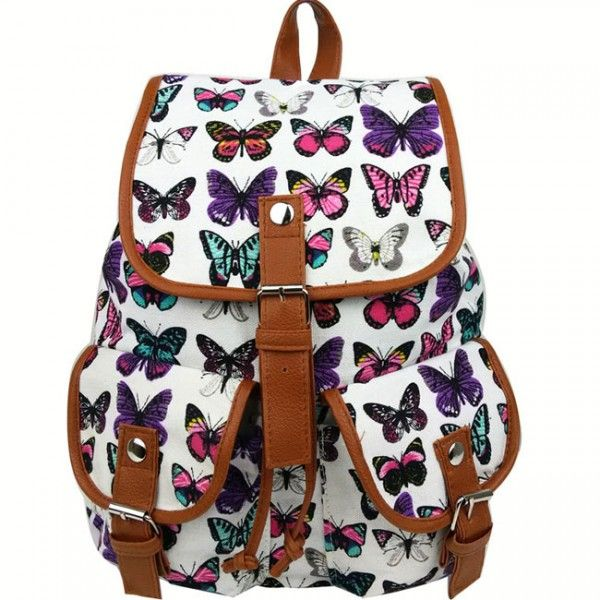 Cool! Leisure Butterfly Print Women Rucksack Two Pockets College Bag Canvas Backpack  just $29.99 from ByGoods.com! I can't wait to get it!