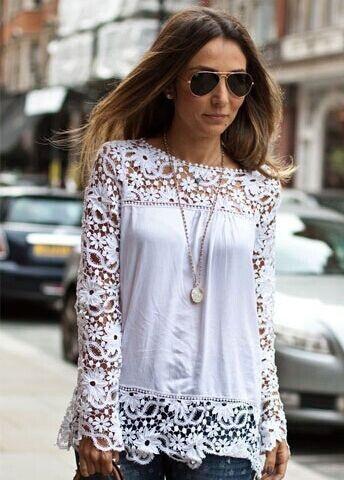 Blusa Floral Crochet cuello redondo-blanco