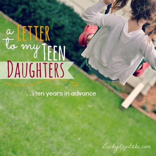 "Are you building the foundation today that will sustain your kids tomorrow? ""A Letter to My Teen Daughters (ten years in advance)"" from Time Out with Becky Kopitzke - Christian devotions, encouragement and advice for moms."