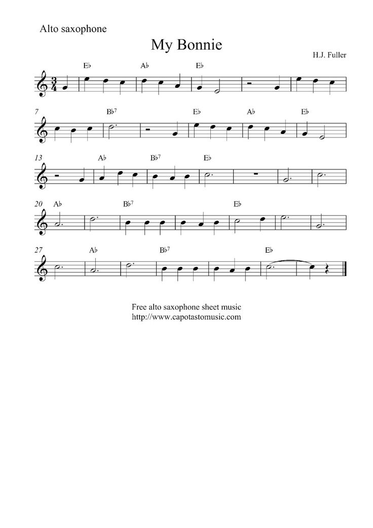 alto sax easy songs sheet music scores free easy alto saxophone sheet music my bonnie. Black Bedroom Furniture Sets. Home Design Ideas