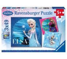 Ravensburger 3 x 49 db-os puzzle - Jégvarázs - Elsa, Anna és Olaf (09269)