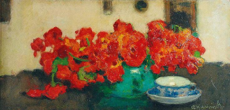 Alfons KARPIŃSKI (1875-1961)  Groszki w wazonie olej, tektura; 35,7 x 72,3 cm;