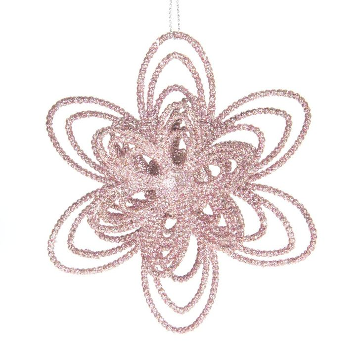 Decorative shatterproof 3D flower, 12cm. The flower is soft pink with glitter and equipped with a hanging cord. Made of unbreakable plastic. Can be perfectly combined with all our other glitter ornaments | It's all about Christmas