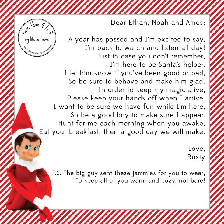 elf on the shelf arrival letter - Google Search | Holiday - Christmas ...