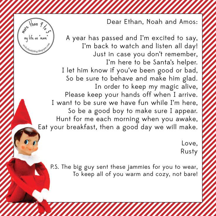elf on the shelf arrival letter - Google Search | Elf on the Shelf ...