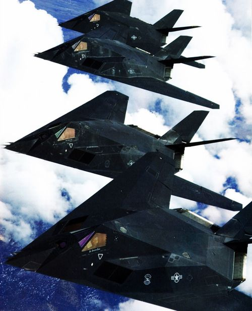 Lockheed F-117 Nighthawks. Like death but in airplane form.