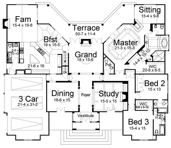 Best seller european style house plans 3820 square - Average square footage of a 3 bedroom house ...