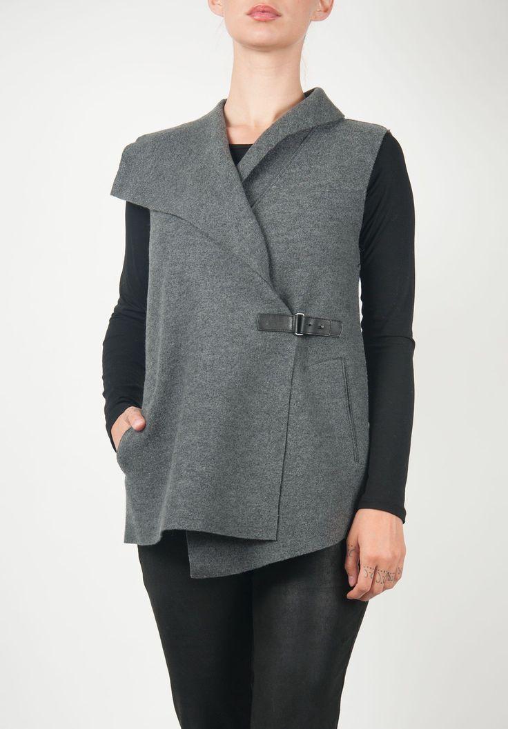 Oska Wide Lapel Asymmetrical Vest in Grey » Santa Fe Dry Goods