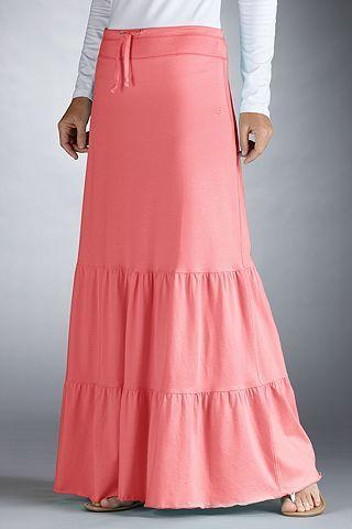 Swim Cover-Ups: Sun Protective Clothing - Coolibar - Sweet Papaya - Beach Maxi Skirt