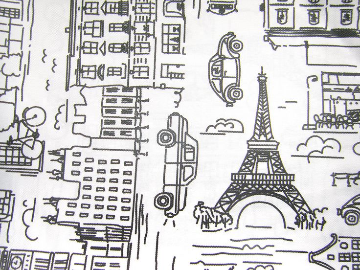 Waterproof Fabric -   Black&White Paris Print Design  - Oilcloth Fabric - PVC fabric by half meter