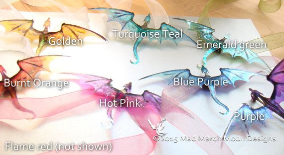Dragon Hair Pin Various Colours iridescent by MadMarchMoon on Etsy