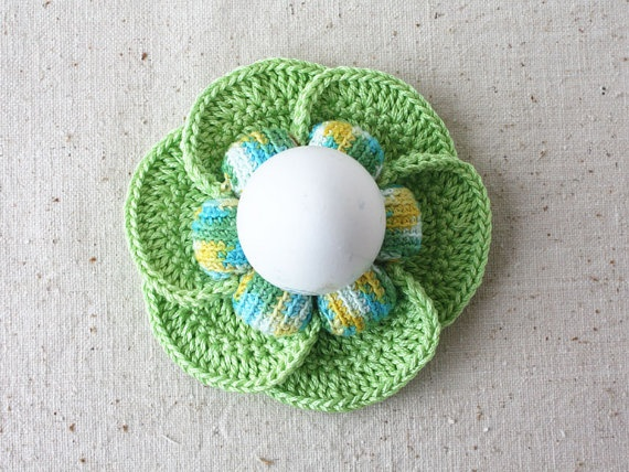 Crochet Egg Holder : Egg holder Easter eggs table decor Green blue yellow white Crochet ...