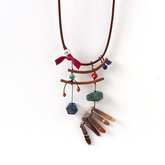 Brown Leather Cord Necklace with Gemstones in Earthy Colors