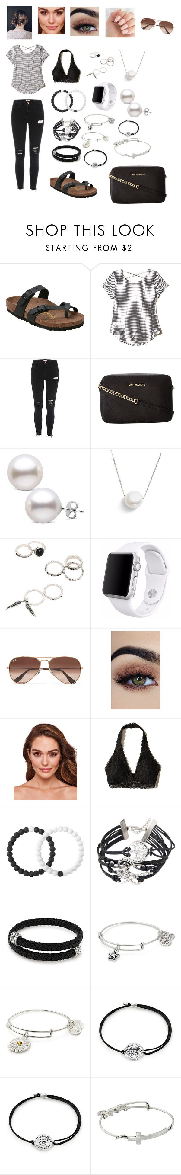 """Shopping/running errands kind of day."" by itsclarissa on Polyvore featuring Birkenstock, Hollister Co., Michael Kors, Chan Luu, Apple, Ray-Ban, Lokai and Alex and Ani"