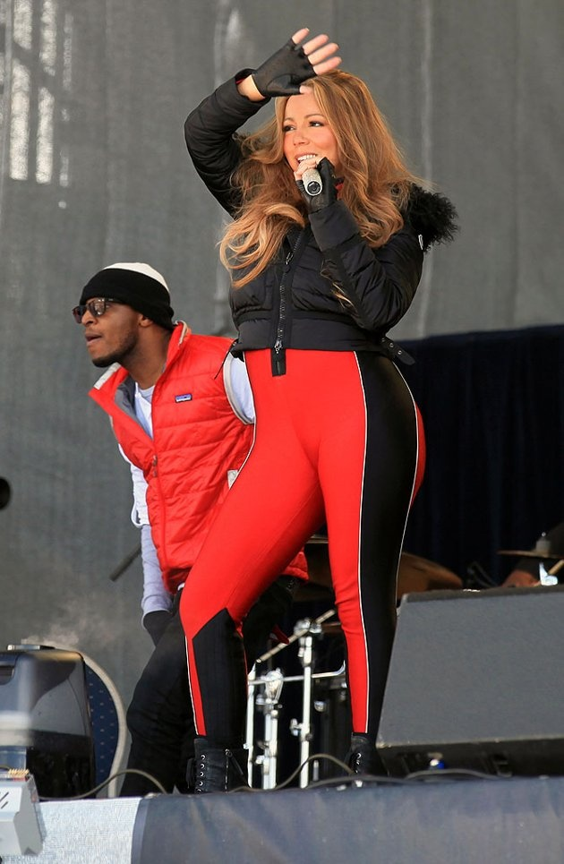 Mariah Carey, who recently renewed her vows to hubby Nick Cannon in Paris, performed during the Top of the Mountain concert at ski resort Idalp in Ischgl, Austria, on Monday. Hopefully the skiers watching were wearing goggles to shield their eyes from those bright pants.