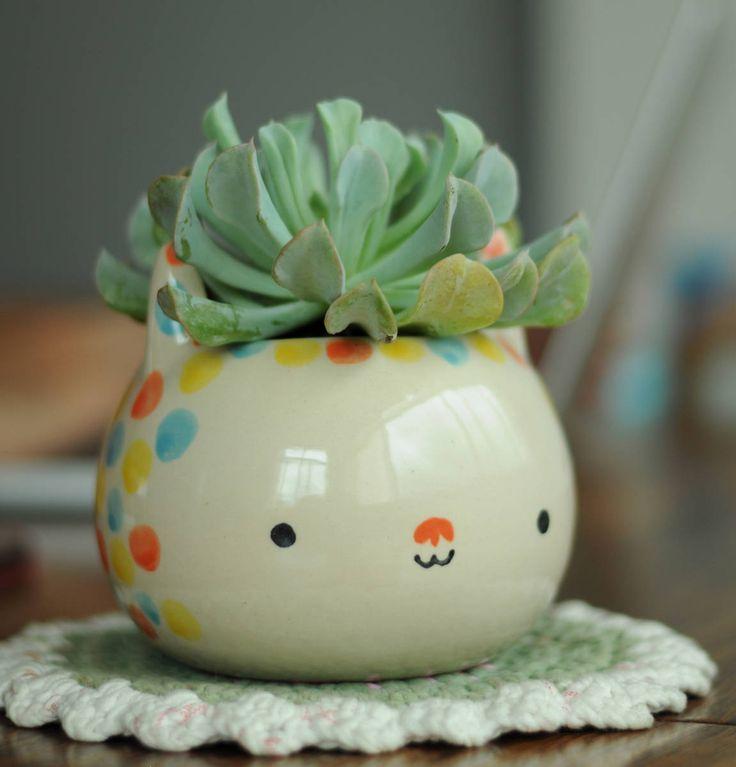vaso artesanal gato bolinhas - decoração miriam brugmann