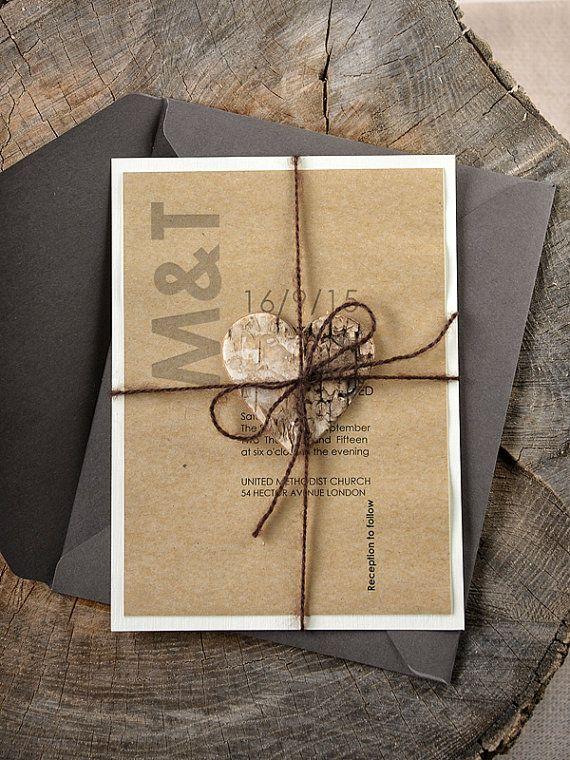 Rustic Wood Wedding Invitation, Birch Heart Wedding Invitations , Modern Eco Wedding Invitation