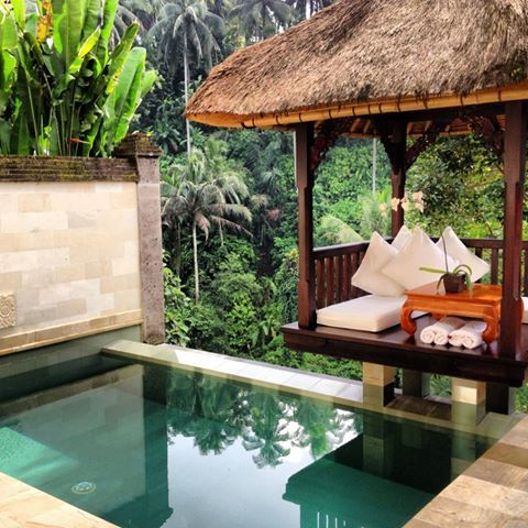 private pool and alfresco living space suspended above the jungle @ Viceroy vila in Ubud Bali